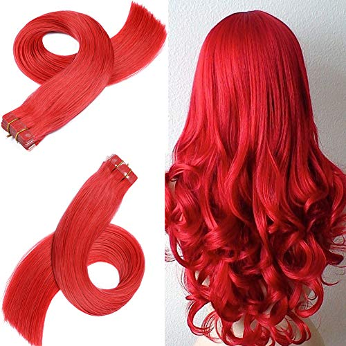 Echthaar Tape in Extension Haarverdichtung Haarverlängerung glatt Tape In Haar Extensions Echthaar Einfarbig Red Rot Echthaar Extensions Tapes Haarverlängerung Tape in Extensions Bunt(16 Zoll 40Cm)30g