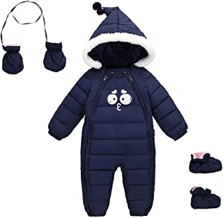 Baby Winter One Piece Snowsuit with Hood Gloves Zipped Toddler Padded Sleepsuit