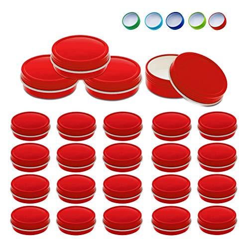 24 Stück Mimi Pack kleine 28 g runde flache Schraubdeckel Blechdosen Deckel Stahlbehälter für Gewürze, Süßigkeiten, Balsam, Gels, Kerzen, Geschenke, Aufbewahrung (rot)