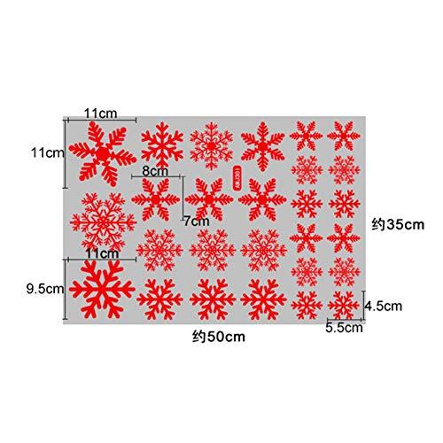 S-Wang - Pegatinas decorativas para ventana con diseño de copo de nieve de Navidad 35 x 50 301 Rojo Static Stick