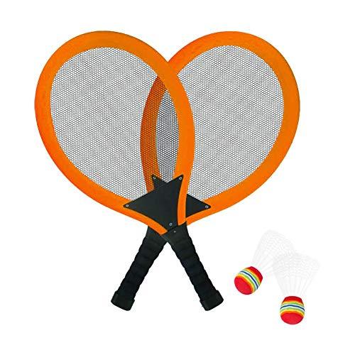 Rita665Jimmy LED Badminton Schläger Set mit 2 Stück LED Badminton, Kinder Badminton Federbälle Indoor Outdoor Garten Strand Sport Spielspielzeug