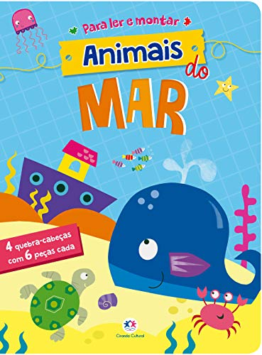 Animais do mar: 4 Quebra-cabeças com 6 peças cada