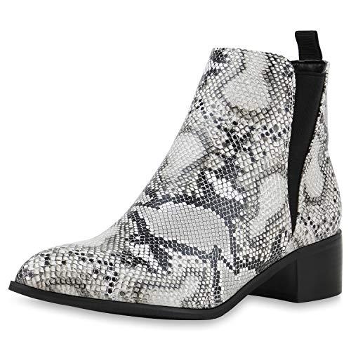 SCARPE VITA Damen Klassische Stiefeletten Leicht Gefütterte Boots Animal Print Schuhe Kroko-Optik Booties 185575 Schwarz Weiss Snake 37