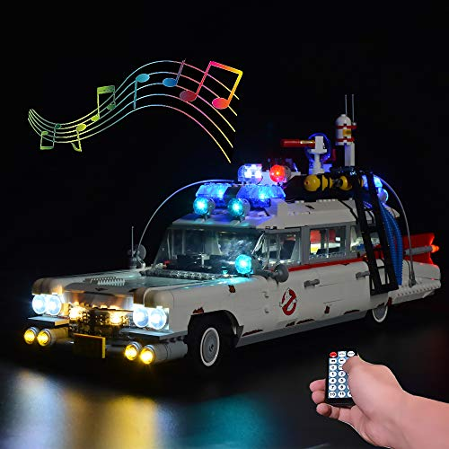 LOVEDIY Upgrade Fernbedienung Beleuchtung Licht Set mit Ton für Lego Ghostbusters ecto-1 10274, Beleuchtung für Lego 10274 ecto 1 (Nicht Enthalten Lego Modell) (mit Ton Fernbedienung)