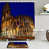 KISSENSU Cortinas con Ganchos,Anfiteatro Azul Coliseo Romano Noche Roma Famoso Arco Arqueología Arquitectura Copia,Cortina de Ducha Alfombra de baño Bañera Accesorios Baño Moderno