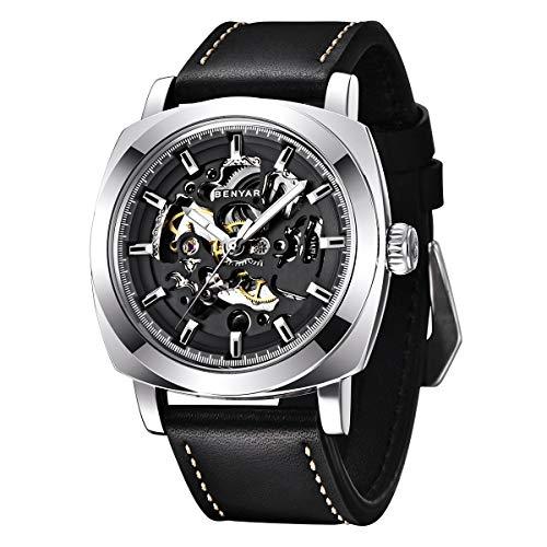 BENYAR - Herren Automatische Mechanische Armbanduhr | Lederband | Goldene Bewegung | 45 mm Skeleton Dial | Wasser- und Kratzfest