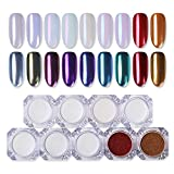 BORN PRETTY 9 Boxes Pearl Powder Nail Mirror Effect Colorful Nails Art Glitter Iridescent Metallic Manicuring Pigment 1G
