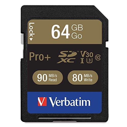 Verbatim Pro+ U3 SDXC-Speicherkarte - 64 GB - für 4K-Ultra-HD-Videoaufnahmen, UHS-3 Geschwindigkeit, Lesen bis 90 MB/s, Schreiben bis 80 MB/s, 49197