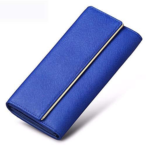XM Donne Impermeabile Portafoglio Grande capacità Pelle Borsa Shopping Appuntamento Frizione (Color : Blue)