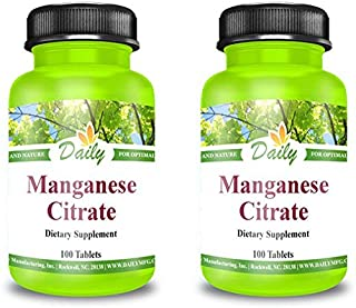 Daily Manufacturing Manganese Citrate 5 mg, 100 Tablets Multi Packs (2)