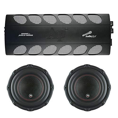 Audiopipe Car Audio Package with 1800 Watt Class D Mono Amp and 2 12 Inch 1800 Watt Subwoofers