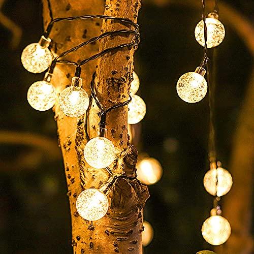 Guirnaldas Luces Exterior Solar, LED Cadena de Bola Cristal Luz Decorativas, Impermeable 8 Modos Bola de Cristal Luces, para Terraza Hogar Arboles Patio Bodas Navidad (1.8cm/warm white,5m/20LED)