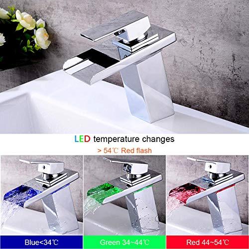 Waterkraan LED WastafelkraanWatefall Wastafelkranen Kleuren veranderen met temperatuur Badkamermengkraan Messing