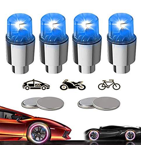 KYECOCO 4 Stück LED Ventilkappen Fahrrad Reifen Beleuchtung Speichenlicht Fahrrad Ventilschaftkappe Licht Autozubehör für Fahrrad Auto Motorrad oder LKW mit 10 Zusätzlichen Batterien(Blua)