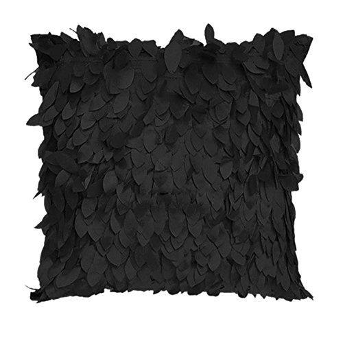 Funda de cojín de Plumas para sofá, decoración del hogar, Color Negro