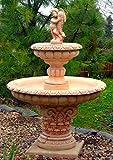 Casa Padrino Jugendstil Gartenbrunnen Junge mit Goldfisch Beige/Rot Ø 114 x H. 171 cm - Gartendeko Brunnen - Springbrunnen