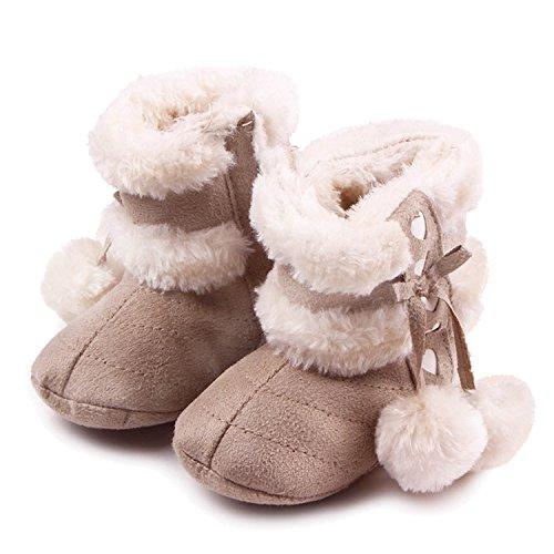 Gosear Neonato Inverno Caldo Morbido Cotone Scarpe Stivali Natale Stivali Taglia M per 6-12 Mesi i Bambini Vecchi Chiaro Kaki