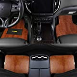 YIHO Crocodile Leatherette Car Floor Mats with Heel-pad for All Season Protection of Automotive SUV Truck Van - Brown Universal Fits