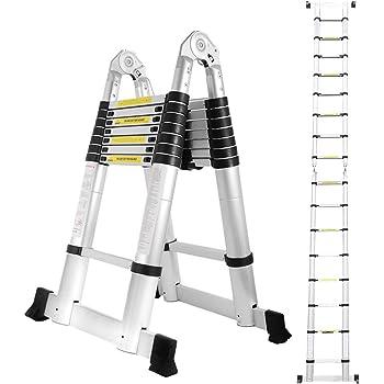 wolketon 5(2,5+2,5) M Escalera telescópica de Aluminio Fuerte Estabilidad Escalera plegable Escalera alta multifuncional para loft 8+8 Escalones Antideslizantes Carga 150 KG: Amazon.es: Bricolaje y herramientas