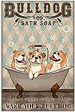 Póster de perro Bulldog baño divertido baño Wash Your Paws Poster – estilo retro vintage – arte de pared para imprimir – cartel sin marco – lienzo – cita motivacional – impresión de arte de pared