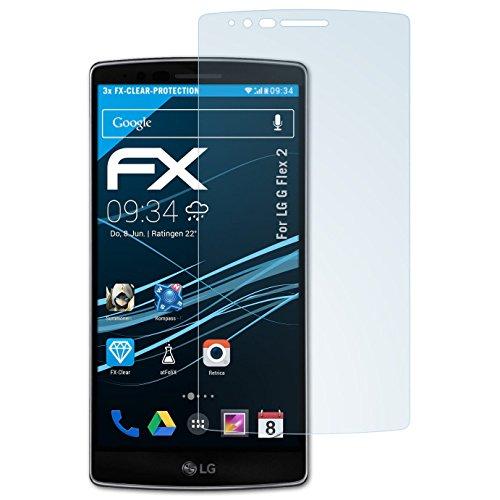 atFolix Schutzfolie kompatibel mit LG G Flex 2 Folie, ultraklare FX Bildschirmschutzfolie (3X)