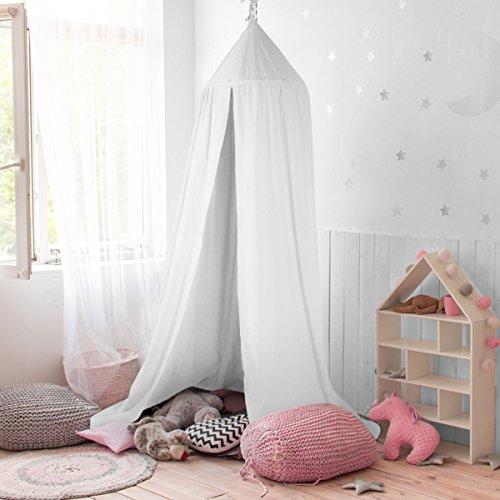 GUSODOR Baldachin Kinder Bett Kuppel Baumwoll Betthimmel Moskitonetz Spiel Zelt Gut für Baby Innen im Freienspiel Lese Schlafzimmer Ankleidezimmer Höhe 240cm (weiß)
