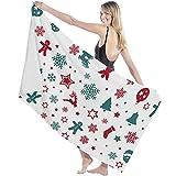 Toalla de Microfibra Secado rápido, Ligera, Absorbente, Suave y grante Yoga, Fitness, Playa, Gimnasio Estrellas de Renos de Copo de Nieve de Navidad 130X80cm
