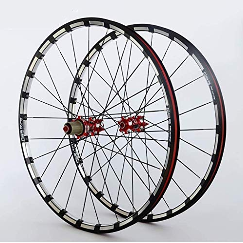MGE Mountain Bike Wheels Bike Wheelset Double Wall Alloy Rim Carbon Core F2 R5 Palin Bearing Quick Release Disc Brake 9 10 11 Speed Bike Wheelset (Color : A, Size : 29inch)