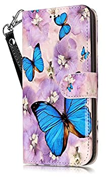 iPhone 8 Plus Wallet Case iPhone 7 Plus Case Cover JanCalm PU Leather Wallet Case with [Detachable Wrist Strap][Multi Card/Cash Slots] Stand Flip Magnetic Cover + Crystal Pen  Butterfly/Purple