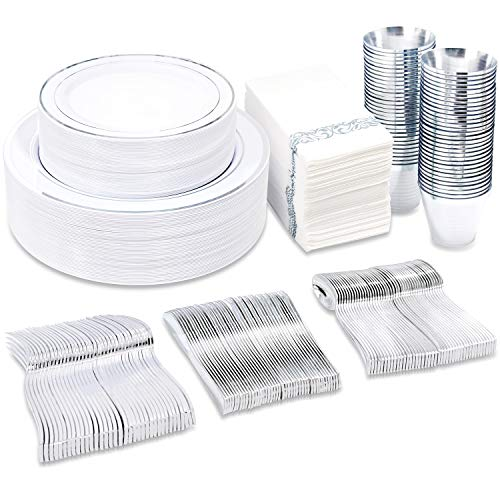 BUCLA 350PCS Silver Plastic Plates With Disposable Plastic Silverware&Napkins- Silver Rim Plastic Dinnerware Include 50Dinner Plates/ 50Dessert Plates/ 50Forks/ 50Knives/ 50Spoons/ 50Cups/ 50Napkins