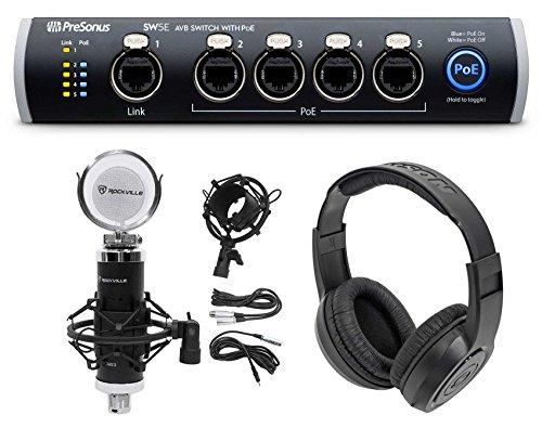 PRESONUS SW5E 5-Port AVB Switch, PoE, Rack Mountable+Studio Mic+Mount+Headphones