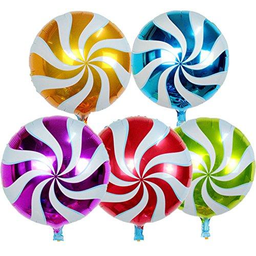 Happium - Paquete de 10 globos redondos de 45,7 cm (18 pulgadas) de aluminio de Lollipop – fiesta de cumpleaños
