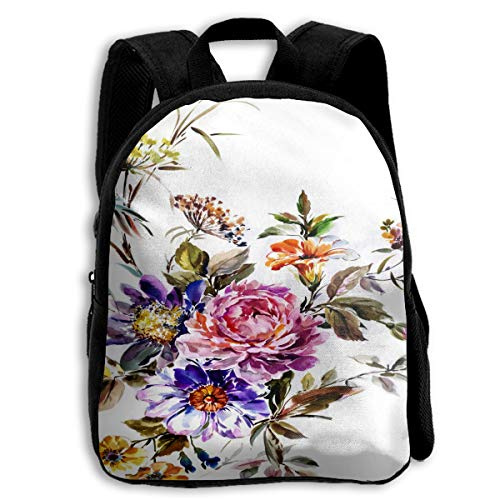 Beautiful Nature, Red Pink Flower Bunch Watercolor School Backpack For Girls Kids Elementary School Bag Mini Backpacks