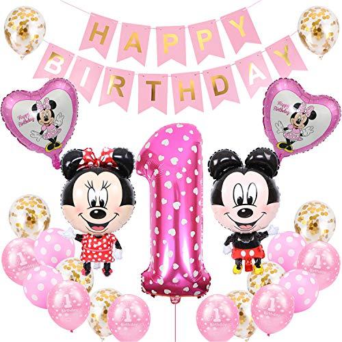 Minnie Globos, BESTZY Decoraciones de Cumpleaños de Mickey Mouse, 1er Cumpleaños Bebe Azul Globos Decoraciones de Fiesta Temática Azul de Mickey Globos de Confeti de Latex (Rosado)
