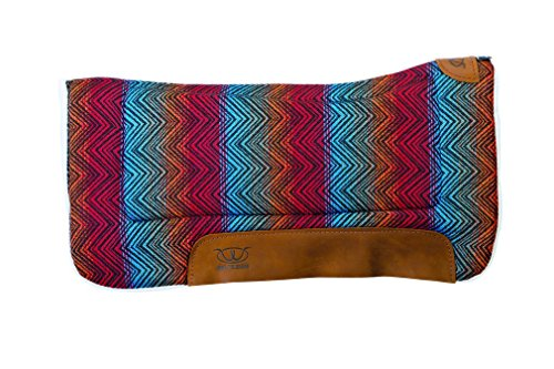 """Weaver Leather All Purpose 30"""" x 30"""" Contoured Saddle Pad with Felt Insert and Merino Wool Fleece Bottom, Red/Multi"""