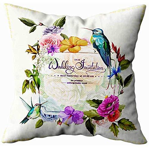 Gooi kussenslopen bruiloft uitnodiging met rozen papaver bloemen en pioen twee kolibries rond deze sjabloon kan worden gebruikt als andere vorm van thuis bank kussenslopen 45X45Cm seizoensgebonden kussensloop