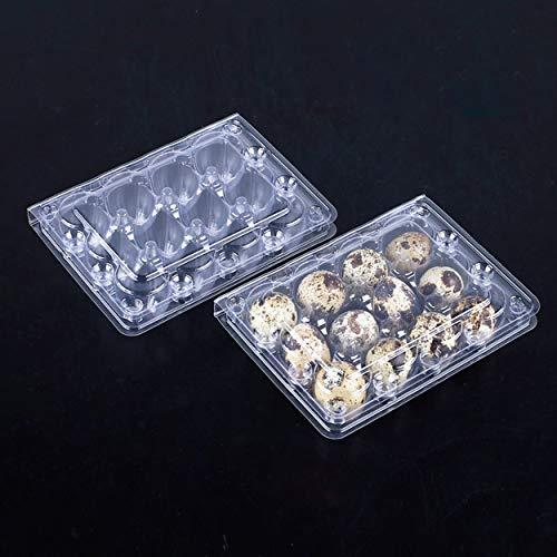 Wachteleierkartons, 50 Stück, je 12 kleine Eierschalen, Wachteleierkartons, wiederverwendbar, recycelbarer Kunststoff-Eierkarton für den Kühlschrank für kleine Wachteleier, nur Kartons