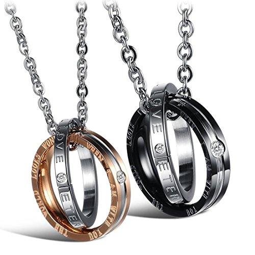 Collar de pareja   SODIAL(R) 2 pzs Cadenas de amistad de joyeria colgante de parejas de acero anillos de diamantes con 45 cm y 50 cm cadena, collar para hombres y mujeres, Negro Plata + Plata Oro