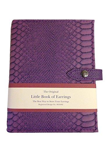 Little Book of Earrings - Custodia Porta Orecchini A Scoparti - Imitazione Coccodrillo Viola - Può contenere Contenere Fino a 48 Paia