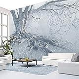 XHXI Mural Fondo interior moderno Diseño de decoración de pared Arte 3D Murales grandes Raíz de árbol Mural co Pared Pintado Papel tapiz Decoración dormitorio Fotomural sala sofá mural-400cm×280cm