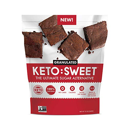 KETO:SWEET Ultimate Keto Sugar Alternative, 100% Natural Erythritol - Granulated In Resealable Bag (12 Ounce Pouch)