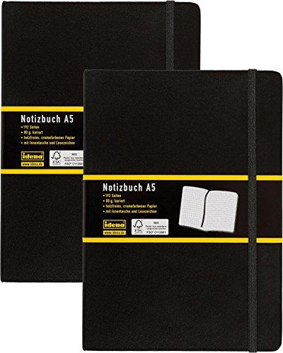 Doppelpack Idena 209281 - Notizbuch DIN A5, 192 Seiten, 80 g/m², kariert, schwarz