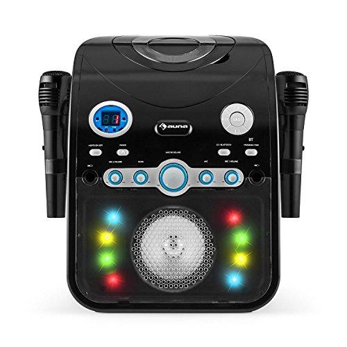 auna StarMaker BK • Kinder Karaoke Anlage • Karaoke Player • Karaoke Set • 2 x dynamische Kabel-Mikrofone • Bluetooth • integrierter Lautsprecher • CD+G-Player • Top Loading • Echo Effekt • A.V.C. Funktion • Video-Ausgang • USB-Port • LED Lichteffekte • schwarz - 5