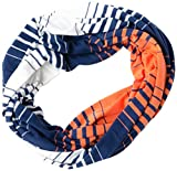 Tickled Pink Women's Striped Game Day T-Shirt Infintiy Scarf, Navy/Orange, One Size