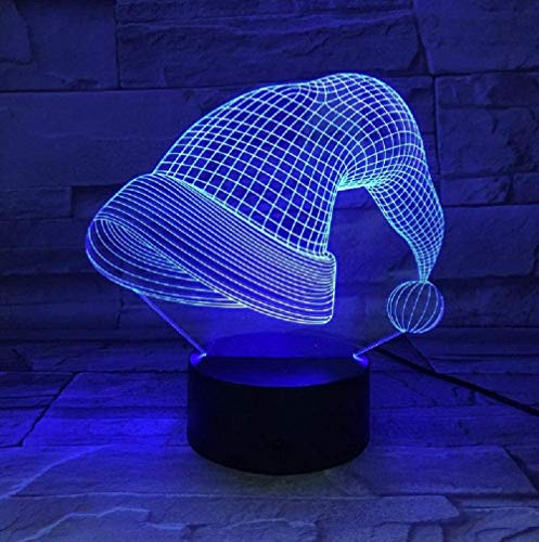 3D Night Light for with Decor Lamp withXmas Hat Shape Touch Table Lamp 7 Colors Changing Desk Lamp 3D Lamp Novelty Led Night Lights USB LightBirthday Gift for Kids