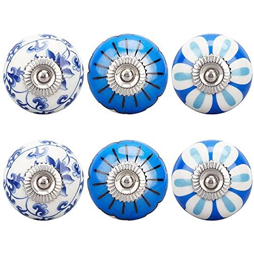 AHANDMAKER Pomos de cerámica para muebles, pomos de cerámica de estilo porcelana con diseño de flores, pomos decorativos para puertas y asas con tornillo para gabinete, cajón, aparador, armario