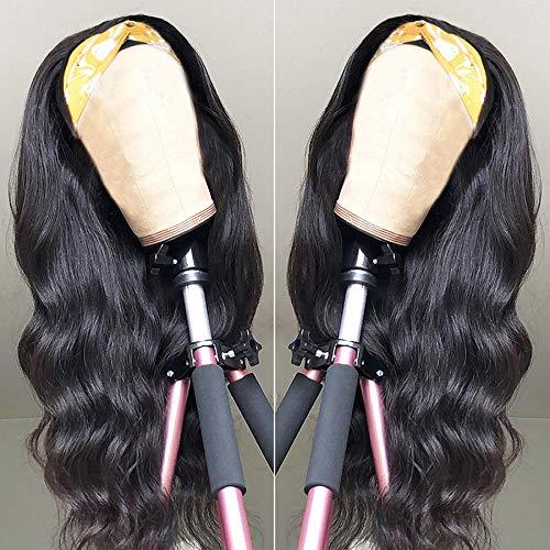 Bfary Body Wave Headband Wigs Human Hair for Black Women Brazilian Virgin Hair Glueless None Lace Front Wigs Ice Silk Headband Half Wig 150% Density Natural Color(16 Inch)
