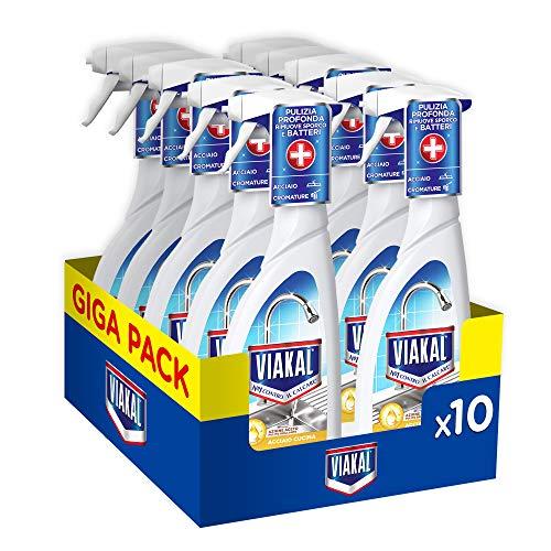 Viakal Detersivo Anticalcare Spray Acciaio, Maxi Formato 10 Pezzi da 515 ml