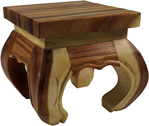 Guru-Shop Mini Table à Opium, Banc Fleuri en Bois Massif - Couleur Naturelle 20x20 cm, Marron, Tables Basses Tables de sol