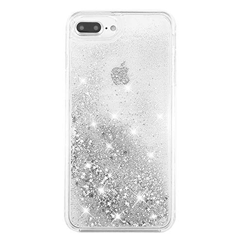 uCOLOR Case for iPhone 7 Plus iPhone 8 Plus Case iPhone 6S Plus/6 Plus Case (5.5') Silver Glitter Liquid Waterfall Clear Protective Case for iPhone 7 Plus/8 Plus/6s Plus/6 Plus